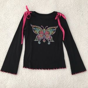 FANG butterfly crop top with glitter & frilly trim